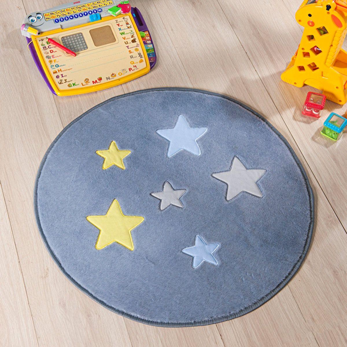 Tapete Infantil Premium Baby Formato Estrela Cinza Prata 65cm ø