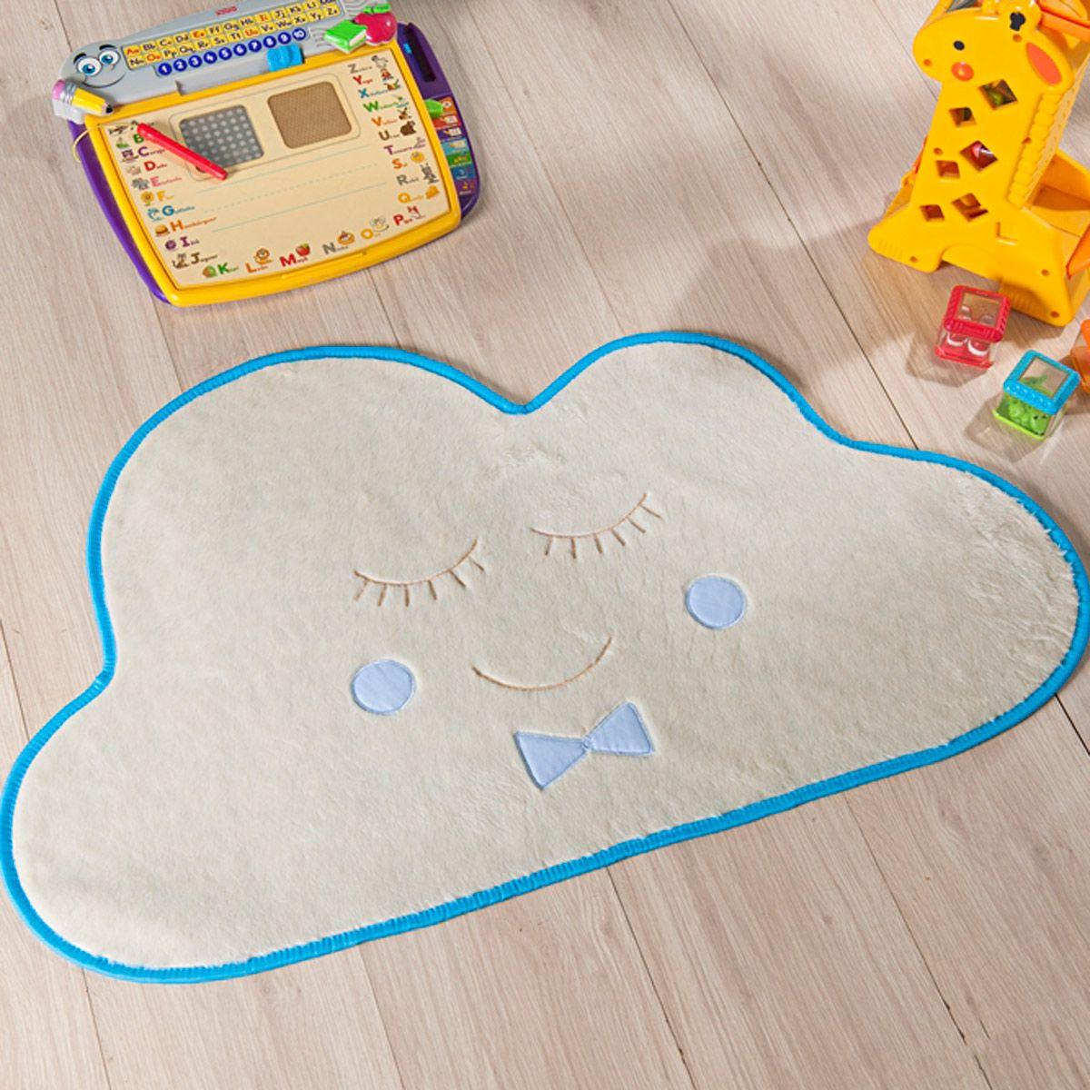 Tapete Infantil Premium Baby Formato Nuvem Azul Turquesa 82cm x 52cm