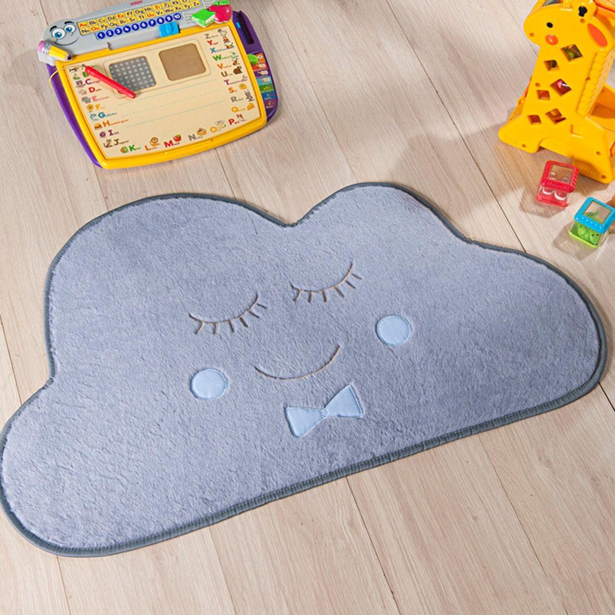 Tapete Infantil Premium Baby Formato Nuvem Cinza Azul 82cm x 52cm