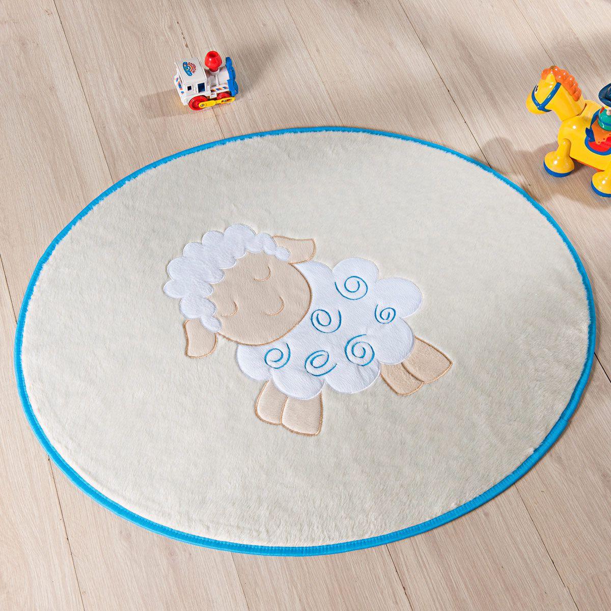 Tapete Infantil Premium Baby Formato Ovelhinha Azul Turquesa 78cm x 68cm