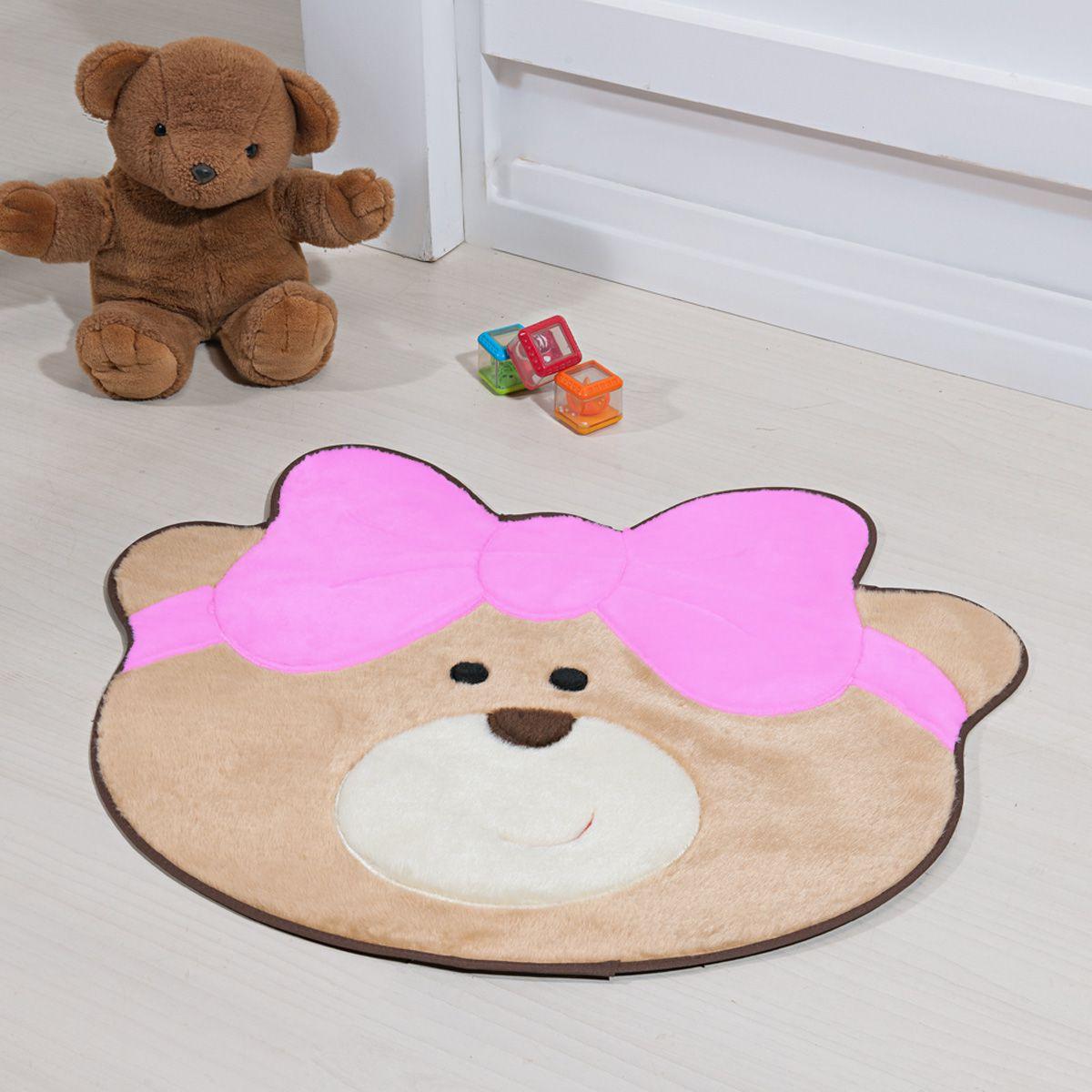 Tapete Infantil Premium Baby Formato Ursinha Laço Rosa 75cm x 62cm
