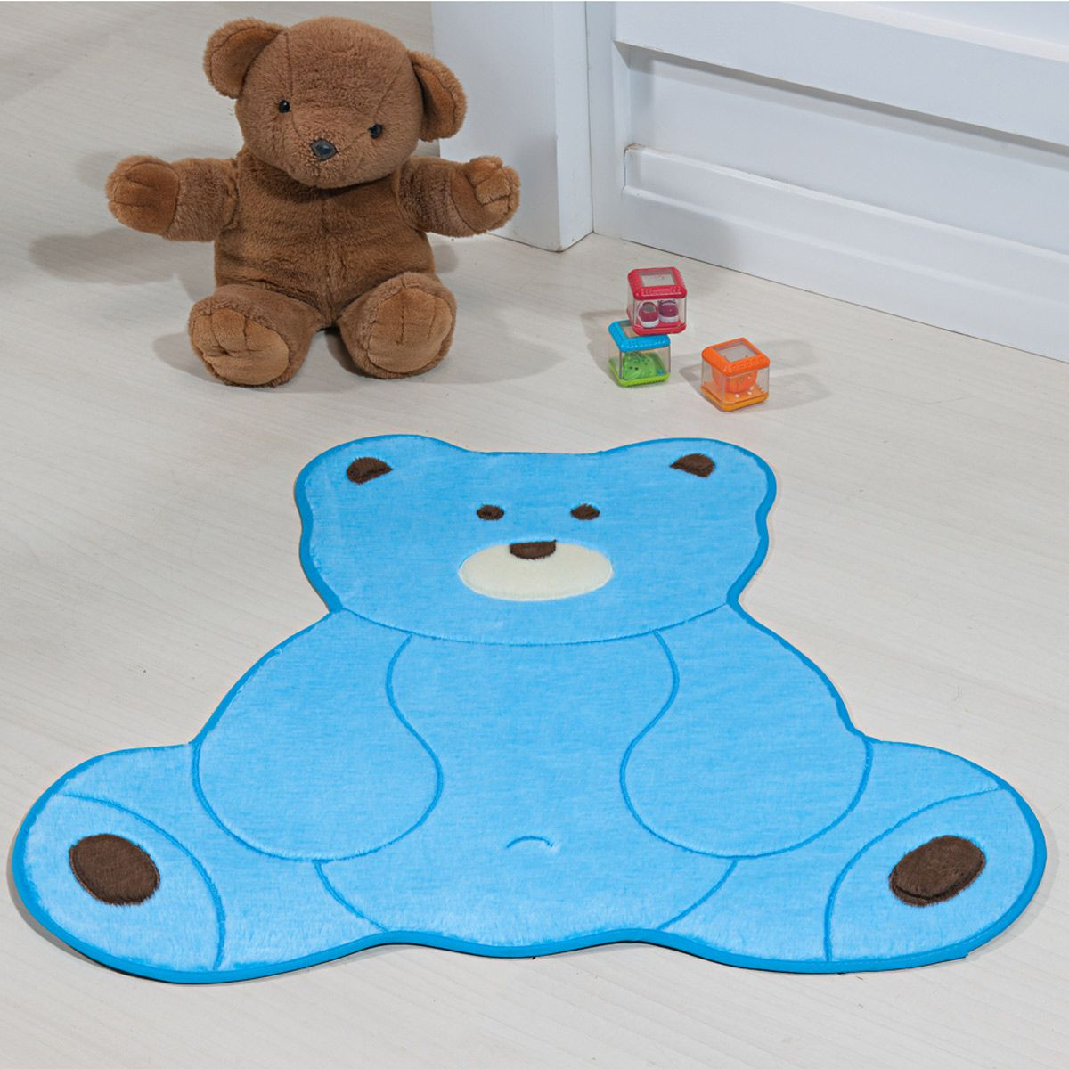 Tapete Infantil Premium Baby Formato Urso Fofo Azul Turquesa 74cm x 70cm