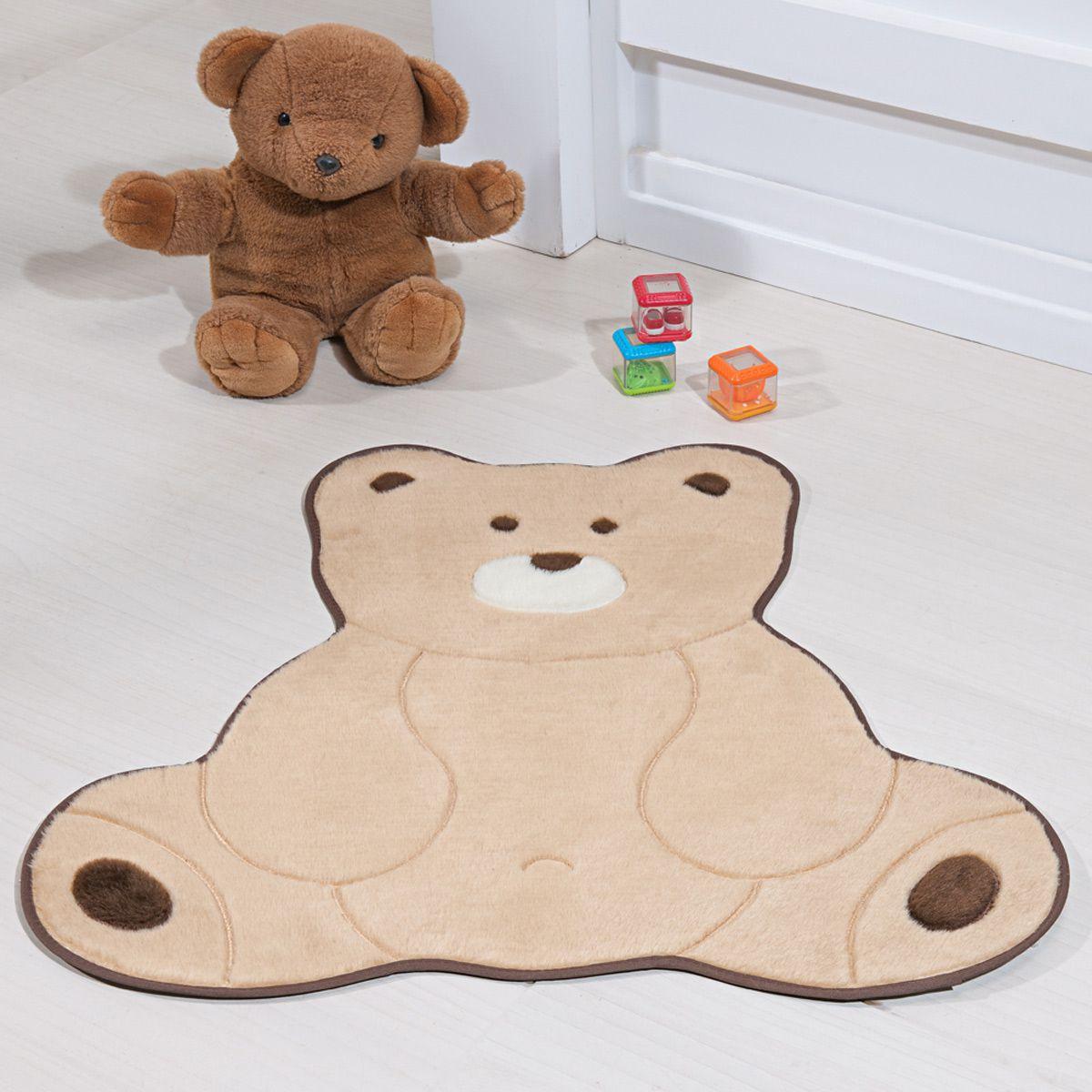 Tapete Infantil Premium Baby Formato Urso Fofo Bege 74cm x 70cm
