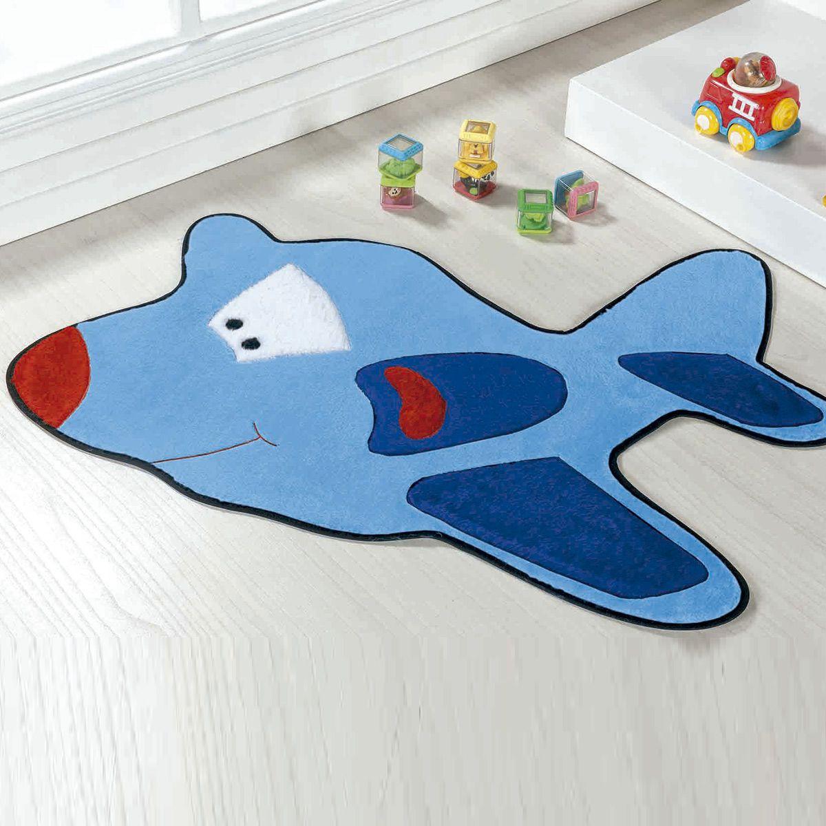 Tapete Infantil Premium Formato Avião Azul Turquesa 98cm x 68cm