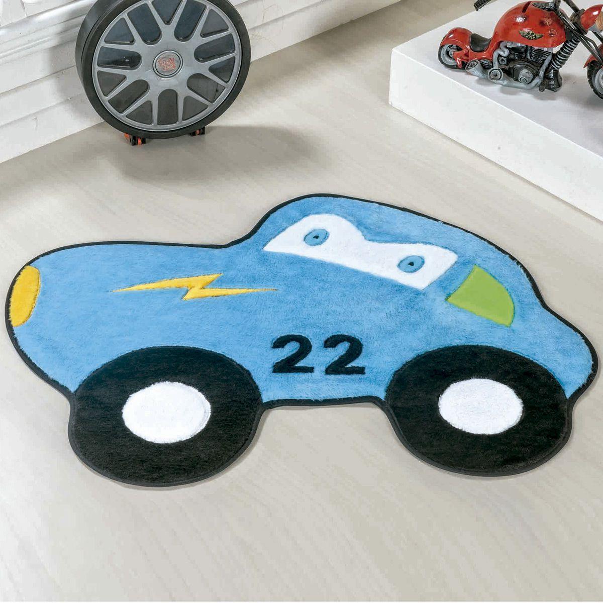 Tapete Infantil Premium Formato Carrinho 22 Azul Turquesa 74cm x 56cm