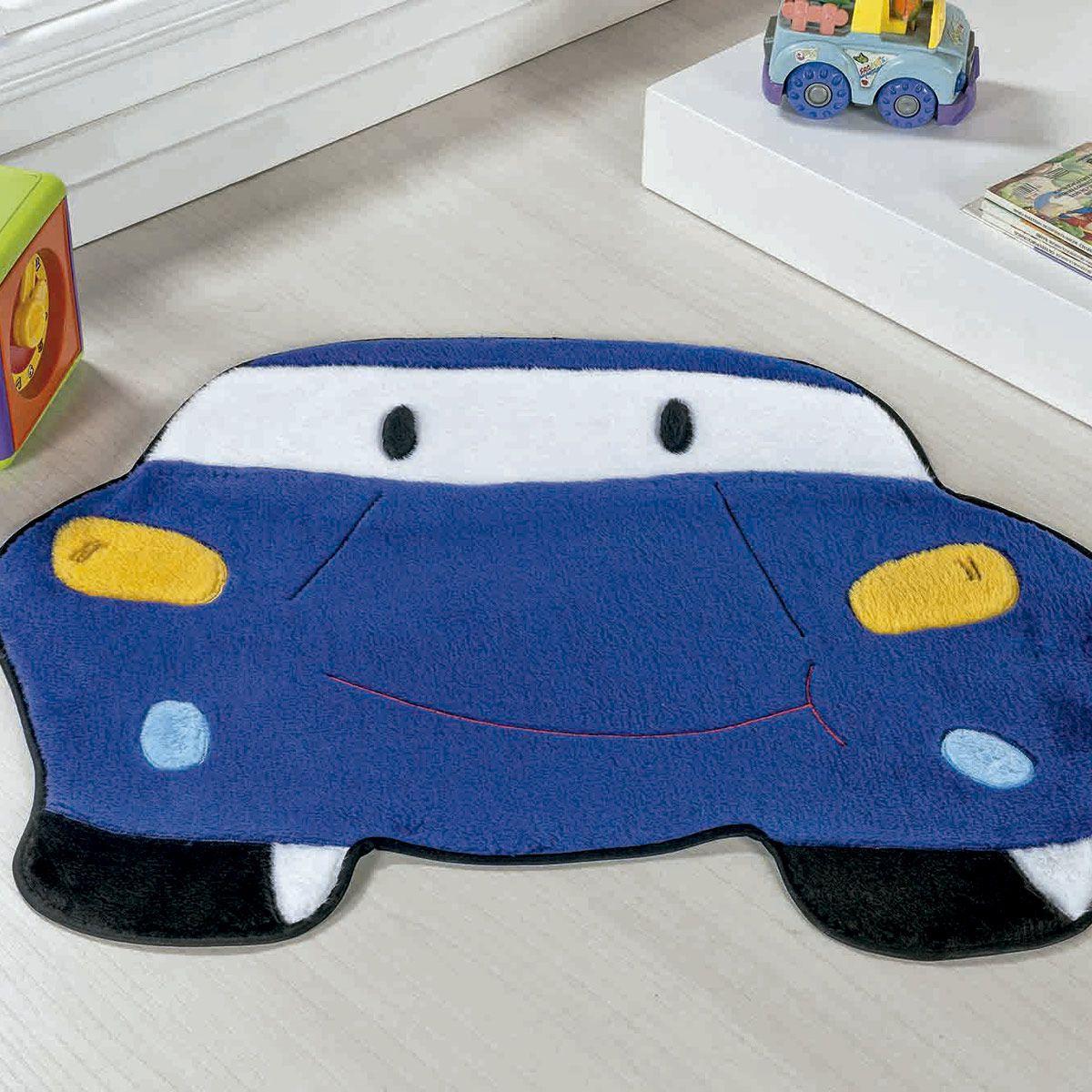 Tapete Infantil Premium Formato Carro Azul Royal 78cm x 60cm