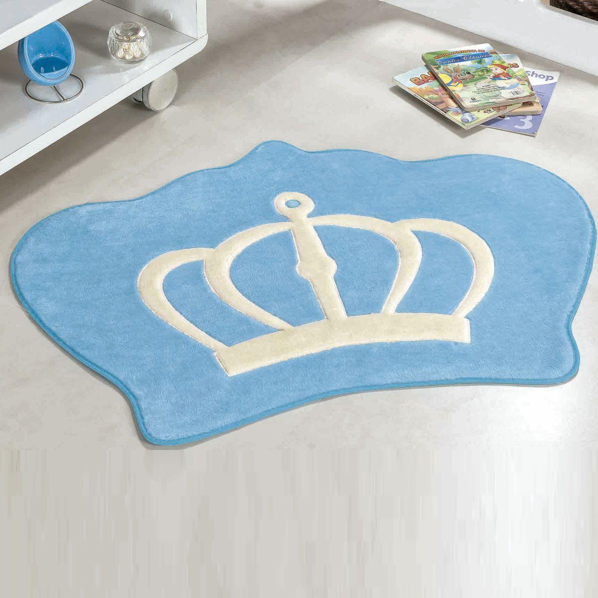 Tapete Infantil Premium Formato Coroa Azul Turquesa 86cm x 64cm