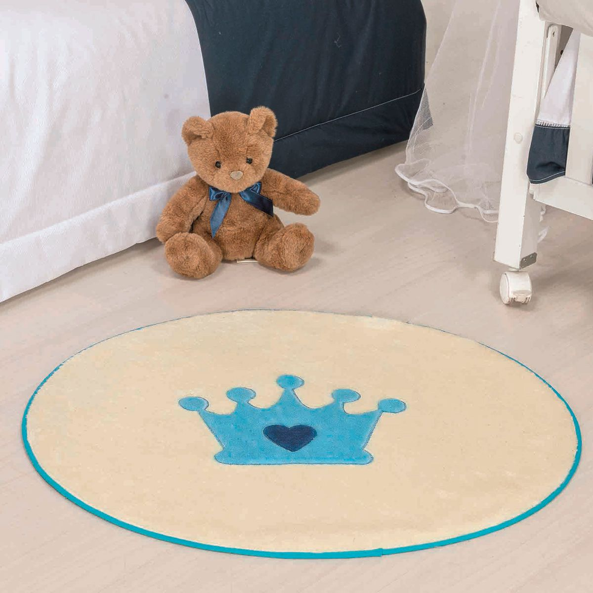 Tapete Infantil Premium Formato Coroa Baby Azul Turquesa 78cm x 68cm