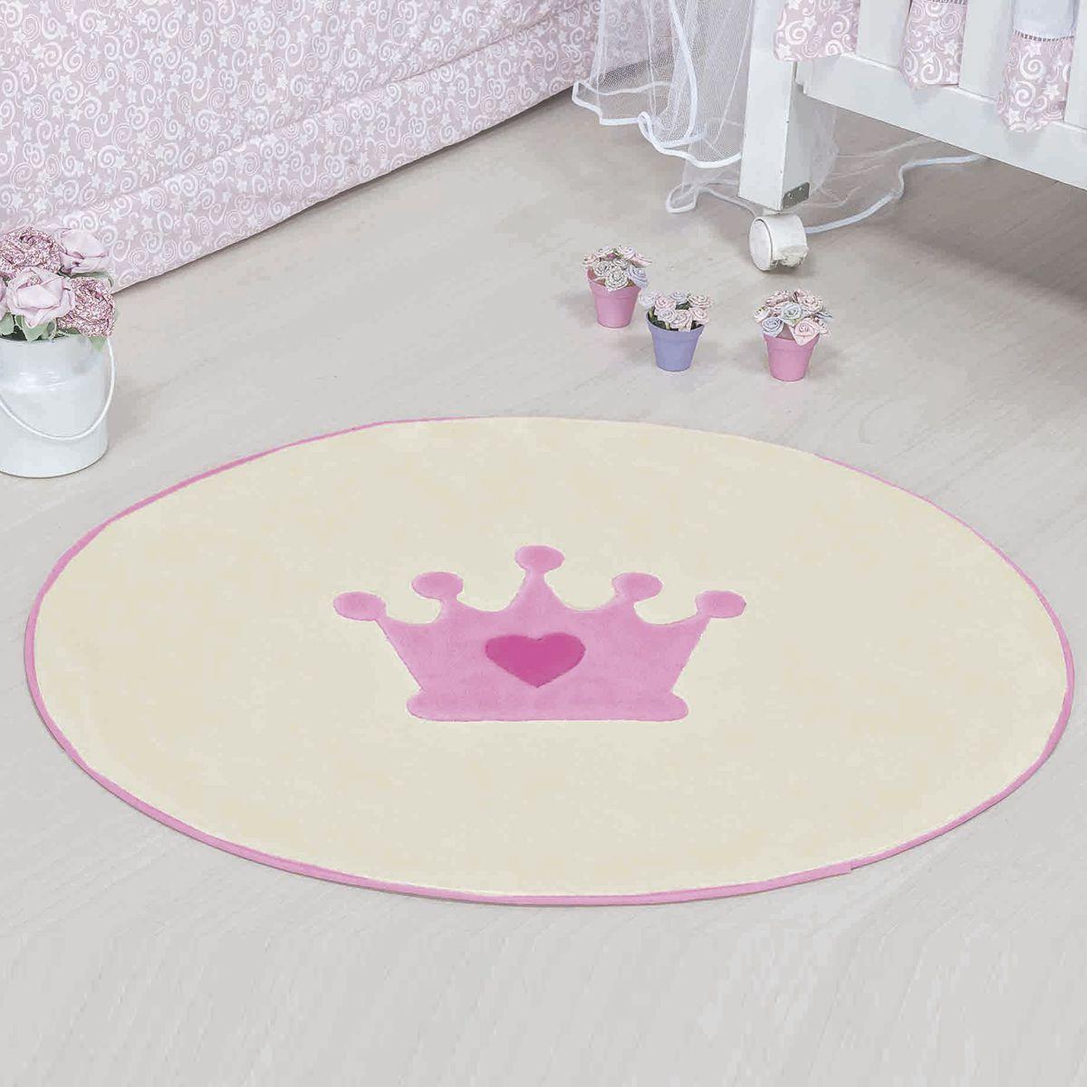 Tapete Infantil Premium Formato Coroa Baby Rosa 78cm x 68cm
