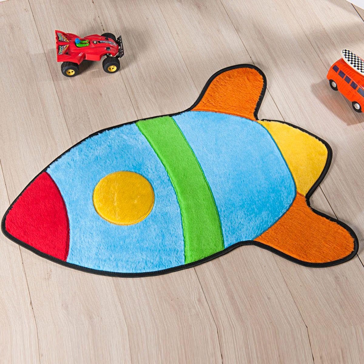 Tapete Infantil Premium Formato Foguete Azul Turquesa 76cm x 63cm