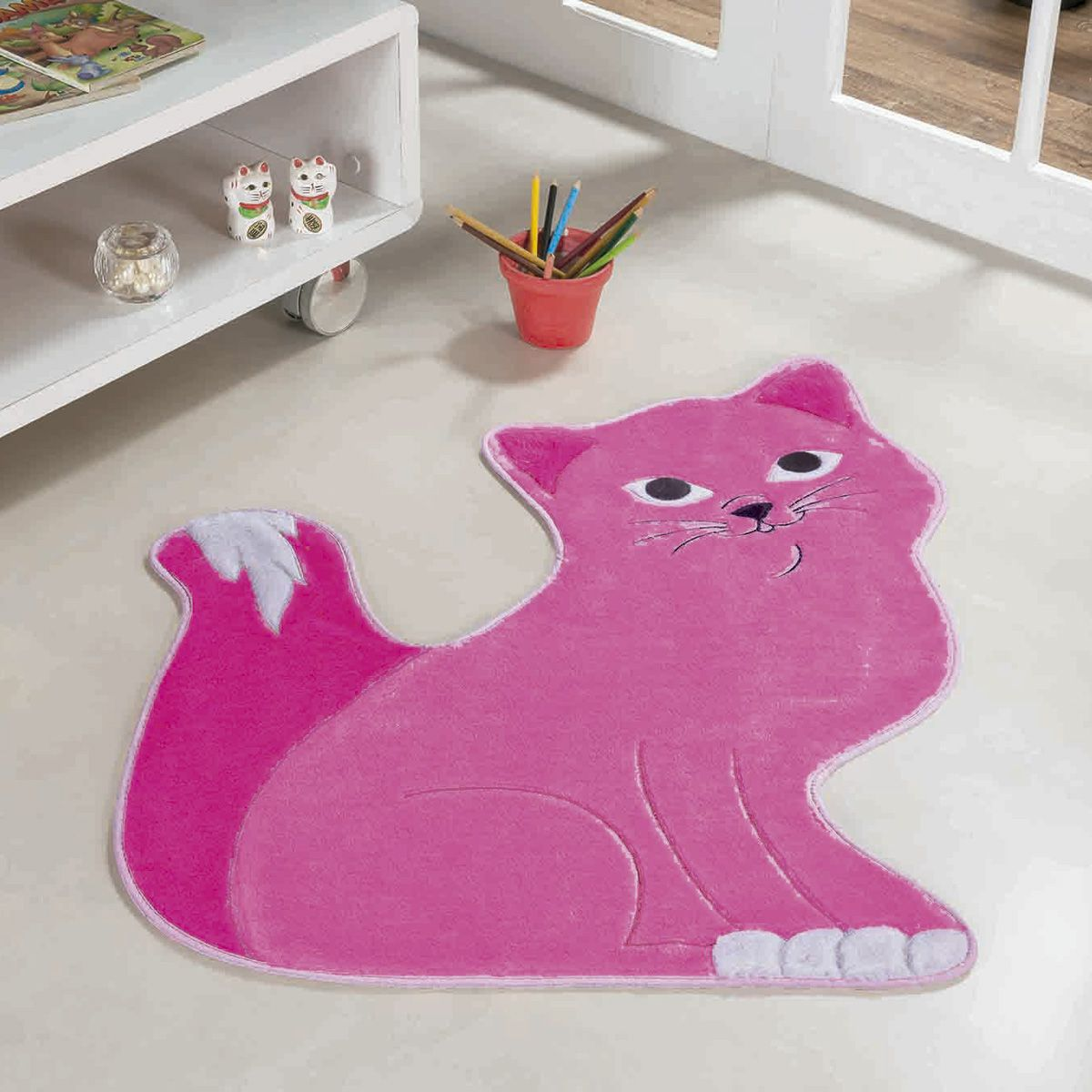 Tapete Infantil Premium Formato Gatinha Manhosa Pink 80cm x 64cm