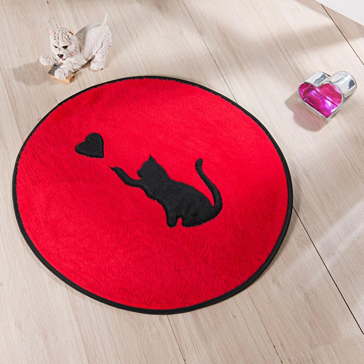 Tapete Infantil Premium Formato Gato Love Vermelho 65ø cm