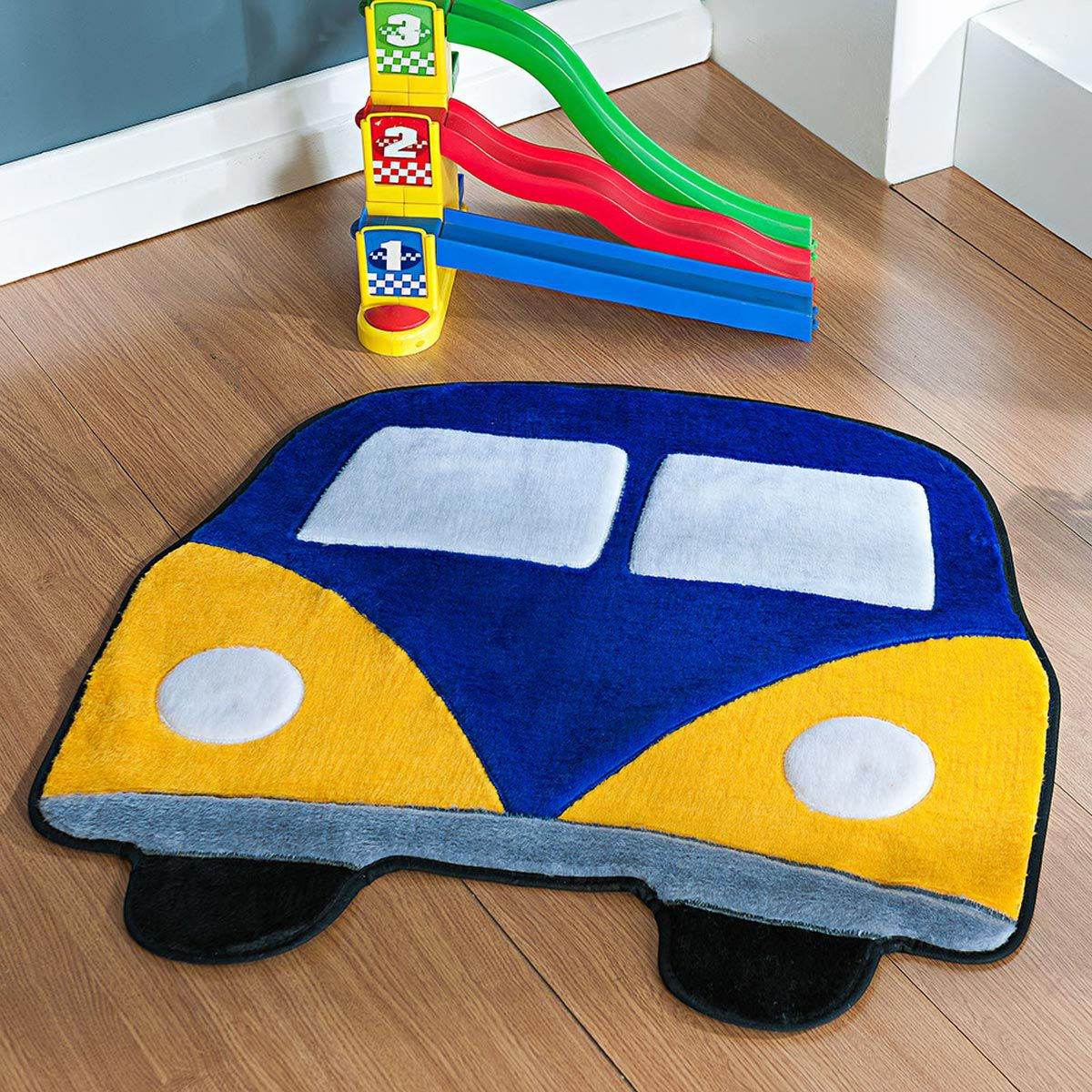 Tapete Infantil Premium Formato Kombi Azul Royal 66cm x 66cm