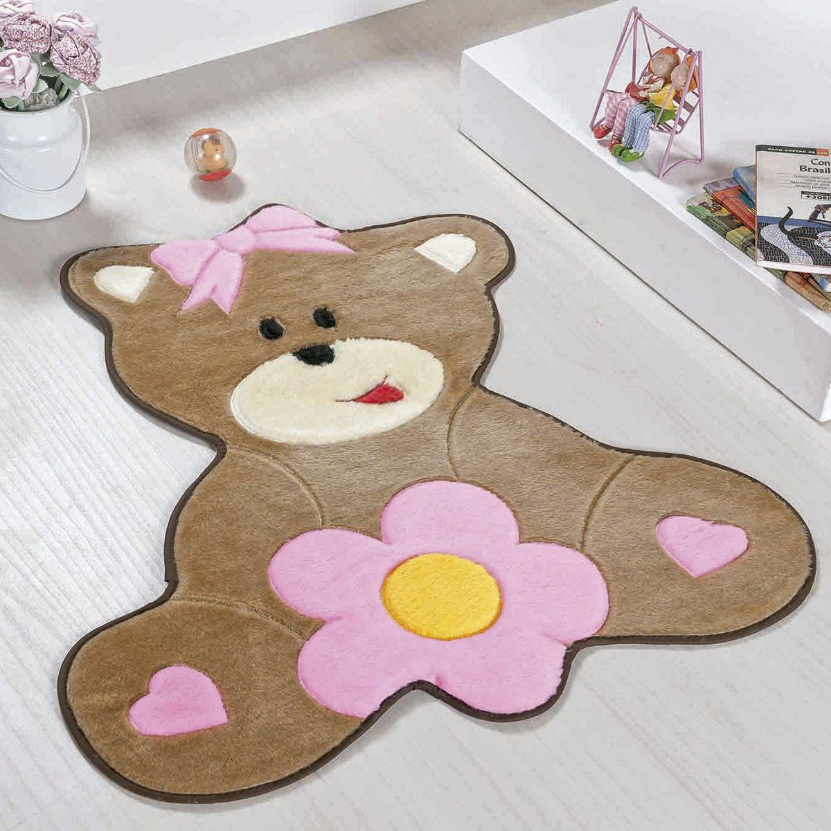 Tapete Infantil Premium Formato Urso Baby Rosa 75cm x 62cm