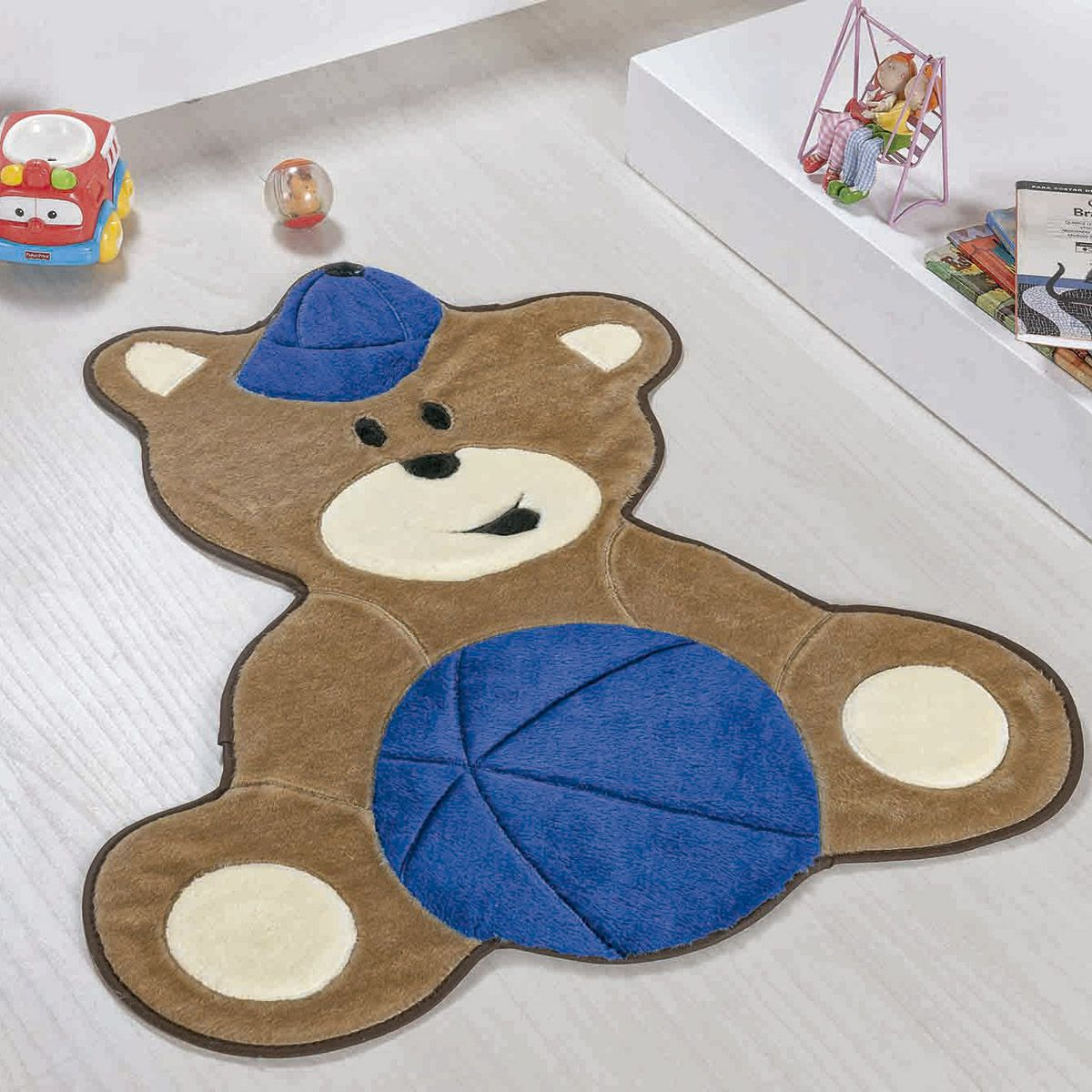 Tapete Infantil Premium Formato Urso Baby Azul Royal 75cm x 62cm