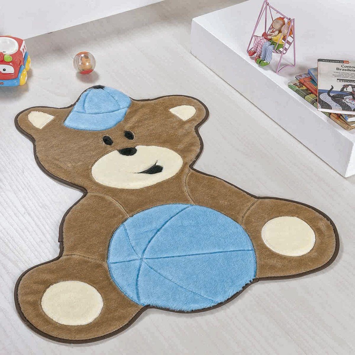 Tapete Infantil Premium Formato Urso Baby Azul Turquesa 75cm x 62cm