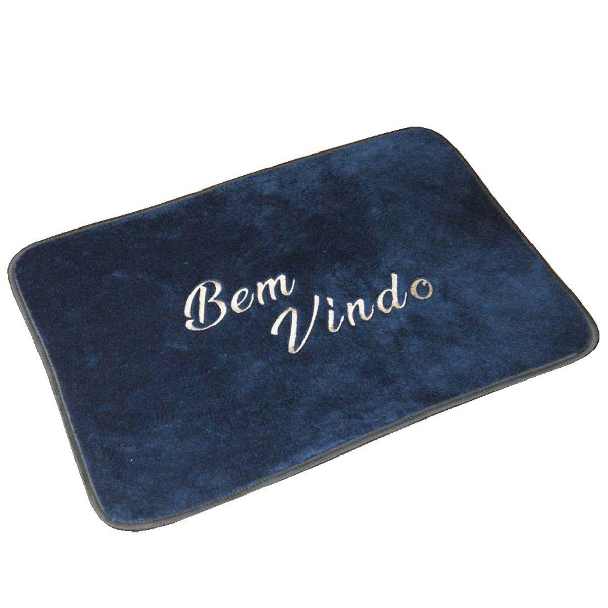 Tapete Retangular Premium Bem-Vindo Azul Marinho 68cm x 48cm