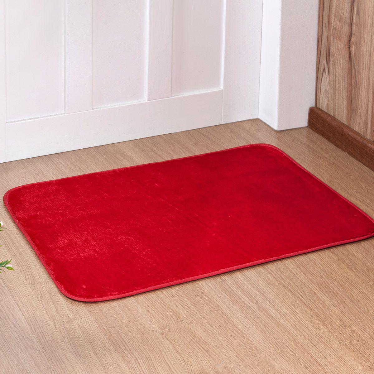 Tapete Retangular Premium p/ Sala Vermelho Liso 0,68m x 0,48m