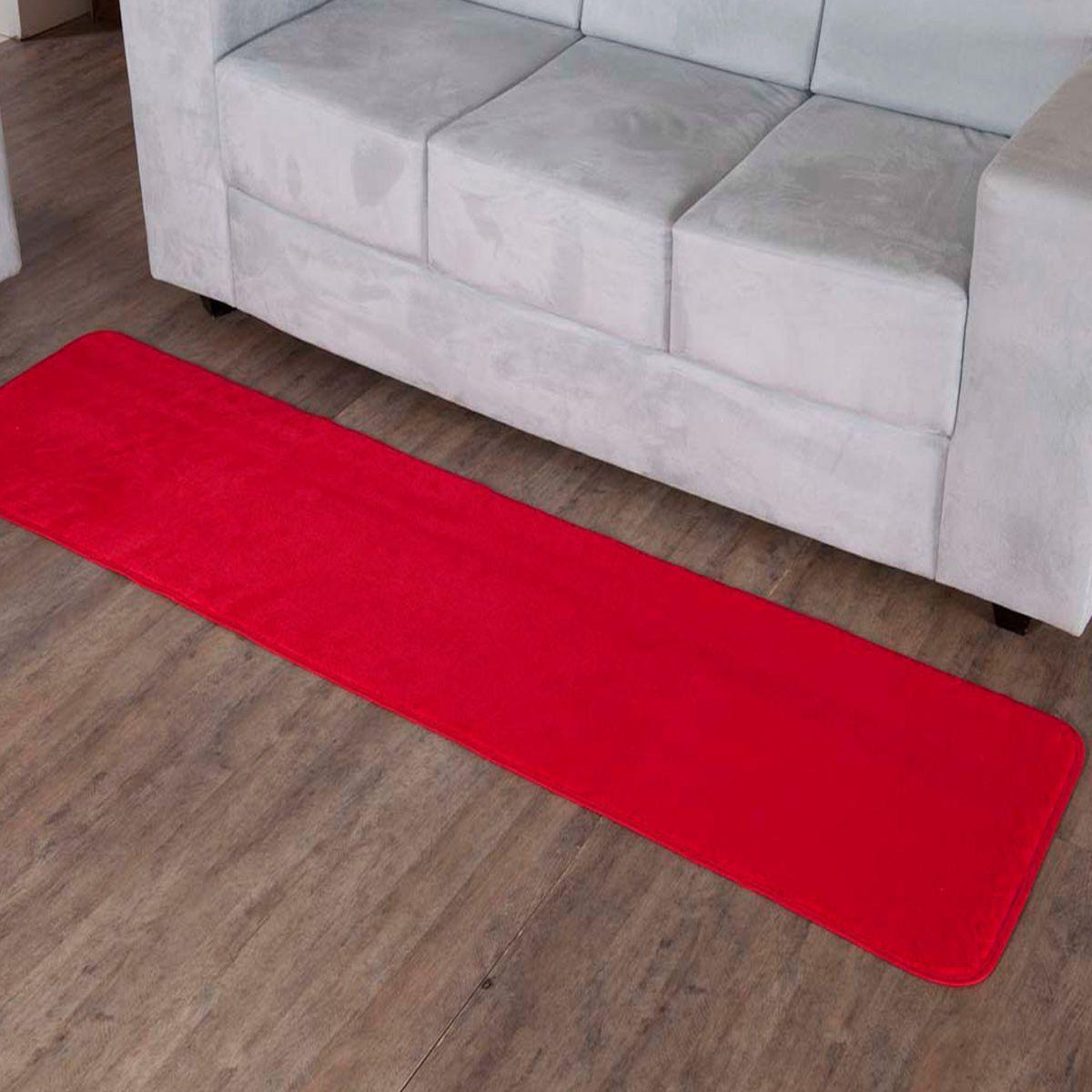 Tapete Retangular Premium p/ Sala Vermelho Liso 2,00m x 0,52m