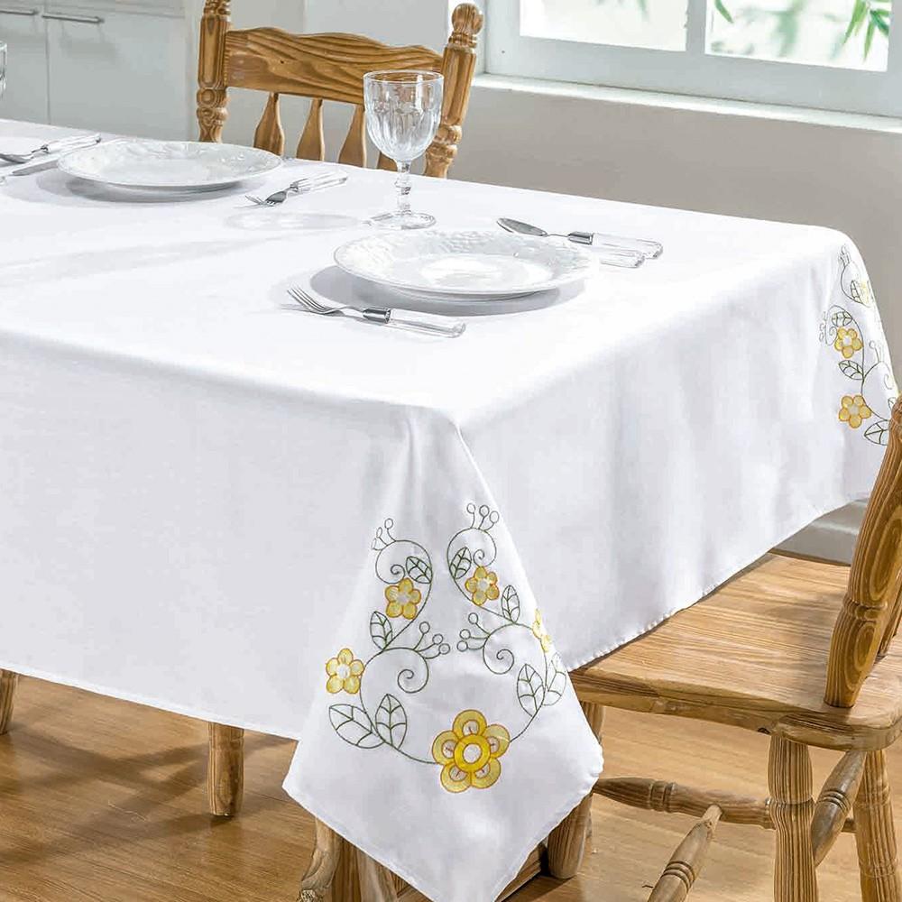 Toalha De Mesa Dalia 1,40X1,40 Branco/Amarelo