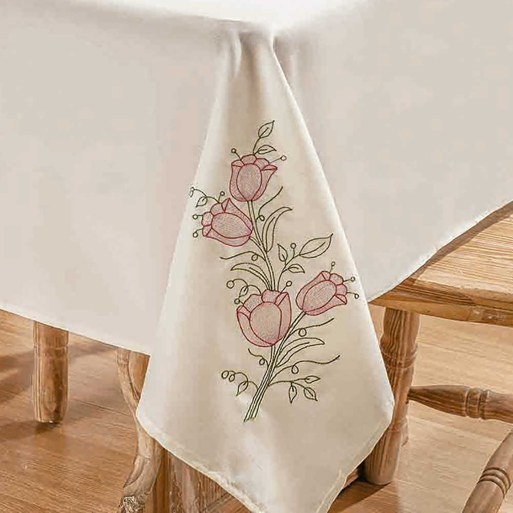 Toalha De Mesa Primavera 1,40X1,40 Palha/Pink