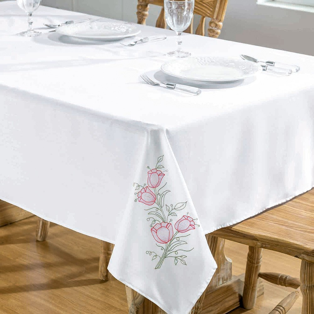 Toalha De Mesa Primavera 2,20X1,40 Branco/Pink