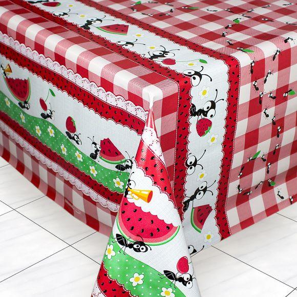 Toalha de Mesa PVC Térmica Formiguinhas 1,40m x 2,00m - 6 Lugares