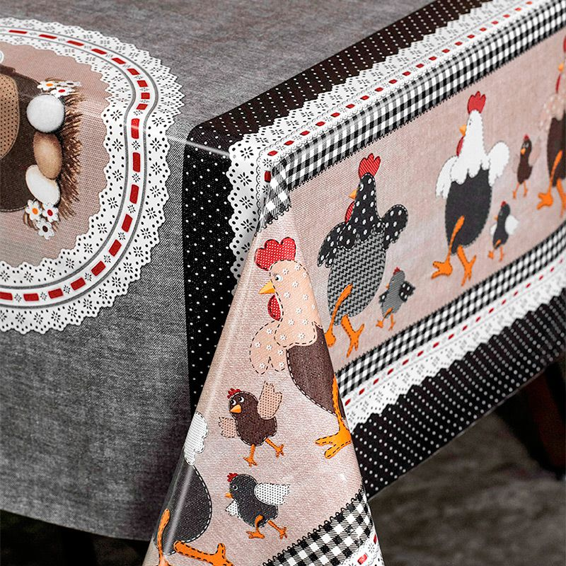 Toalha de Mesa PVC Térmica Happy Chicken 1,40m x 1,50m - 4 Lugares