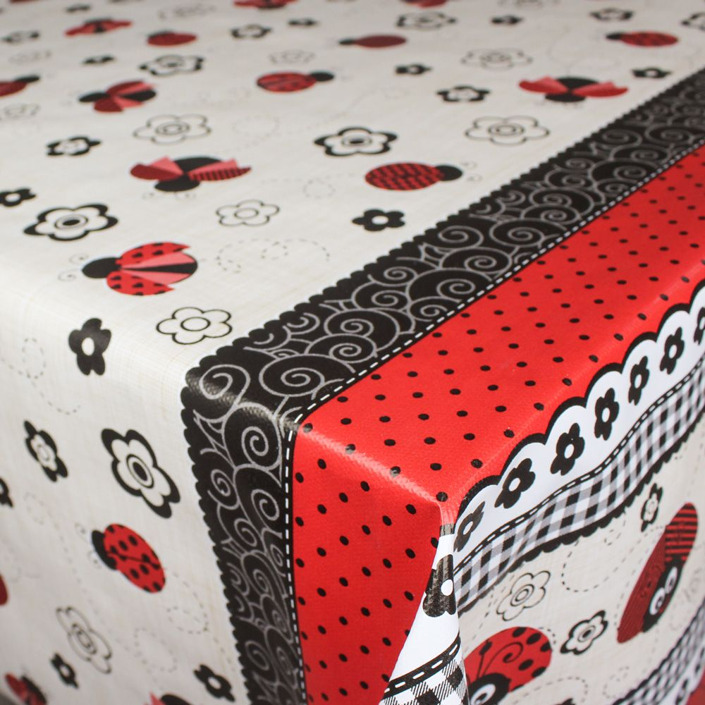 Toalha de Mesa PVC Térmica Joaninhas 1,40m x 2,00m - 6 Lugares