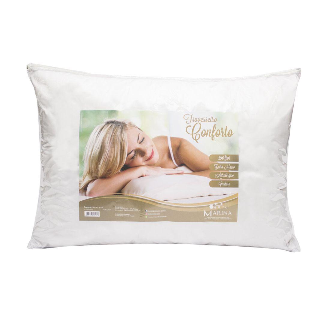 Travesseiro Avulso Conforto Branco - Fibra Siliconada