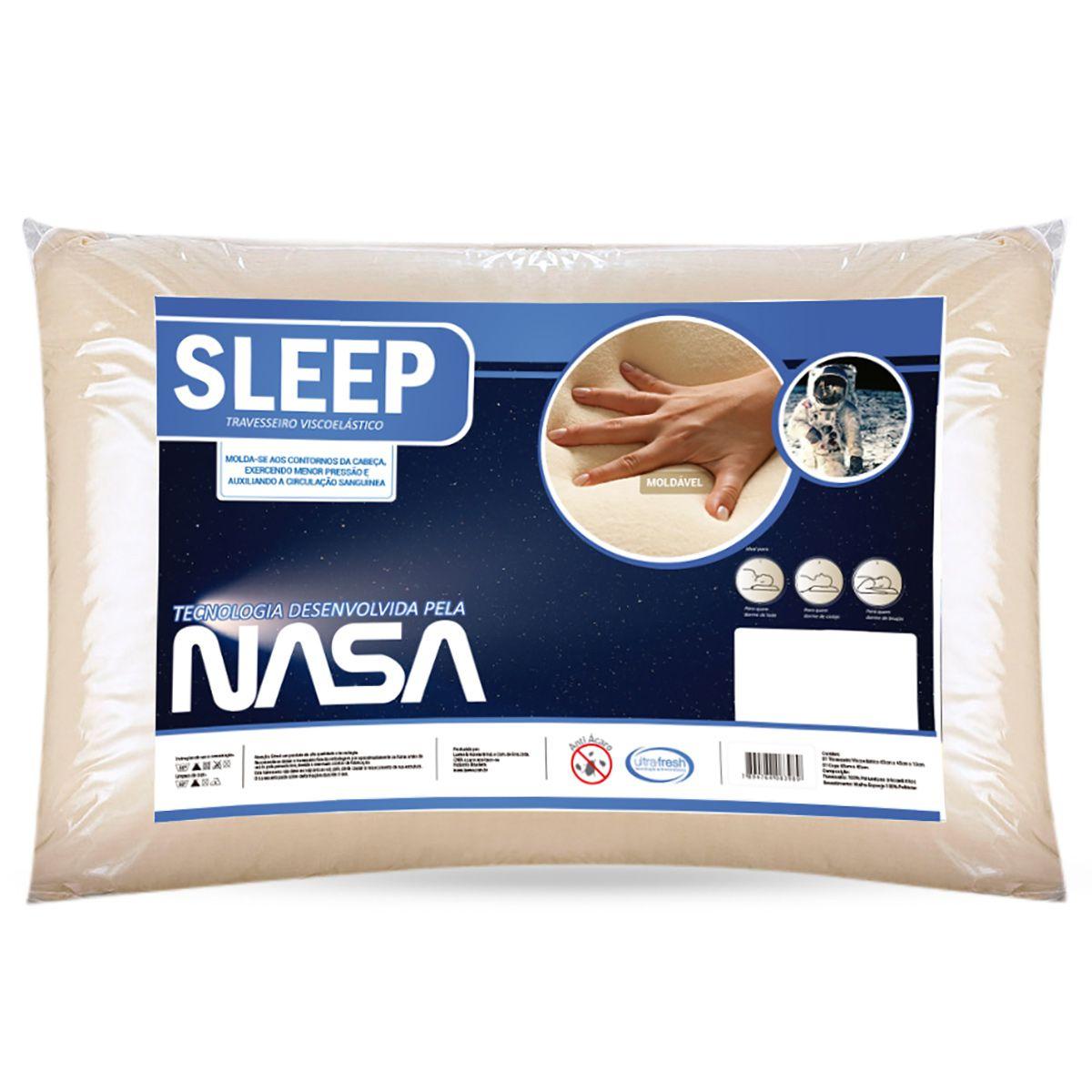 Travesseiro Nasa Palha Viscoelástico Sleep 45 x 65