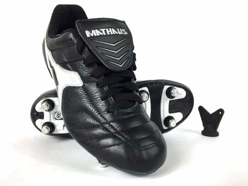 Chuteira de Futebol Mathaus Premium Couro Trava de Alumínio