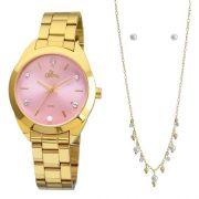 Kit Relógio Allora Pérolas E Cristais Dourado - Al2035fbx/k4