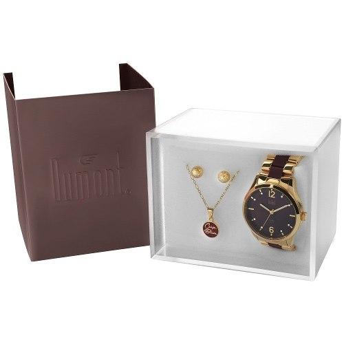 Relógio Dumont Feminino Du2036lsg/k4m + Colar E Brinco