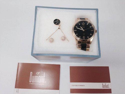 Relógio Dumont Feminino Du2036lsg/k4p Com Colar E Brinco