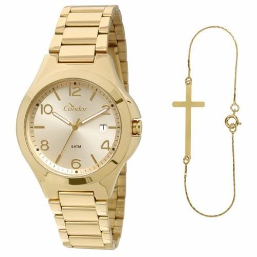 e0b6fe166956a Relógio Condor Feminino Kit Com Pulseira Co2115sw 4x - Naná Sports