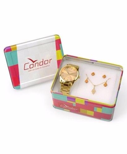 Kit Relógio Condor Energia Em Cores Dourado - Co2035klr/k4l