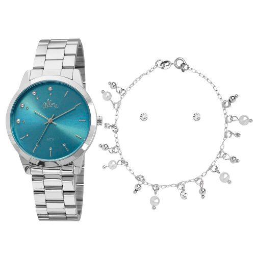 Kit Relógio Allora Pérolas E Cristais Prata - Al2035fbu/k3a
