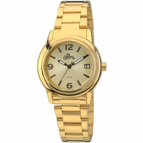 Relógio Feminino Allora Simples Encontro Dourado Al2115ae/4x