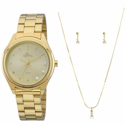 Kit Relógio Allora Feminino Dourado Analógico - Al2035fbw/k4