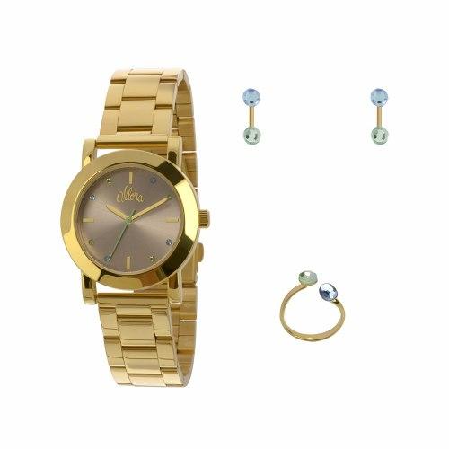 Kit Relógio Allora Anel E Brincos - Al2035fbx/k4