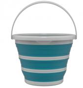 Balde Retrátil Sanfonado 10 Litros Plástico Azul e Cinza FlashLimp