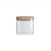 Pote De Vidro Com Tampa De Bambu Quadrado 600 ml