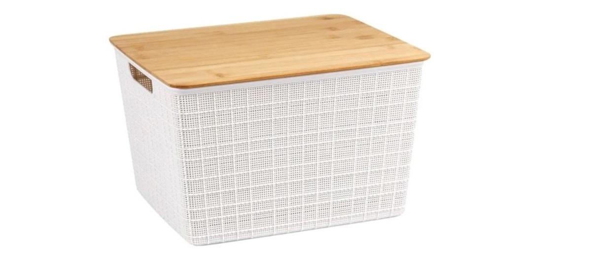 Caixa Organizadora Com Tampa De Bambu18L Branco