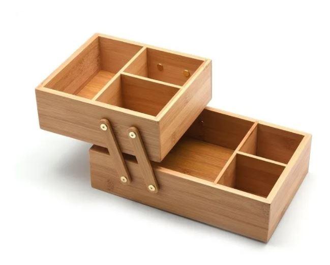 Caixa Organizadora De Bambu 2 Andares
