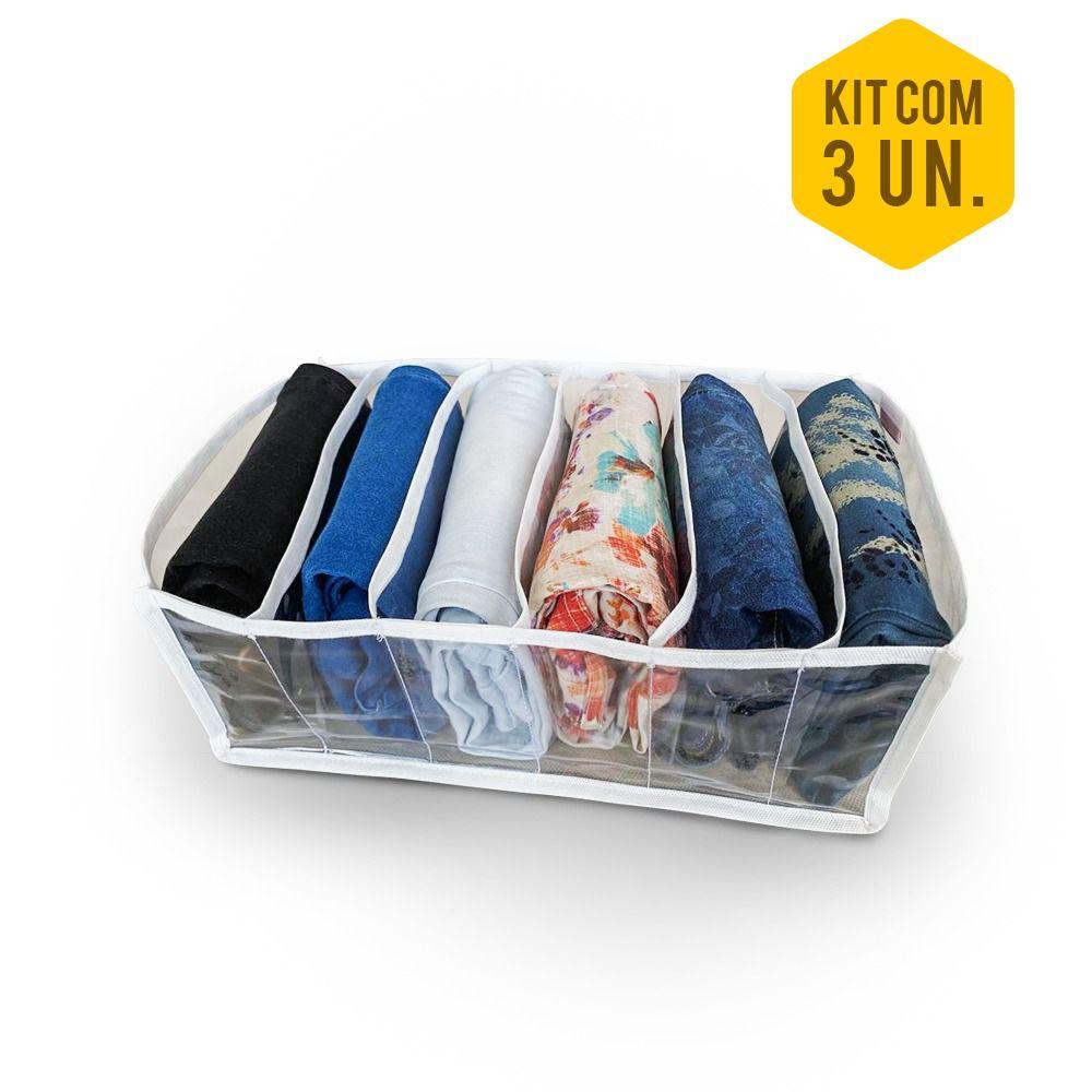 Colmeia Organizadora de Gaveta Sanfonada De Calça Jeans ZIG 8 branca 6 Nichos (kit com 3)