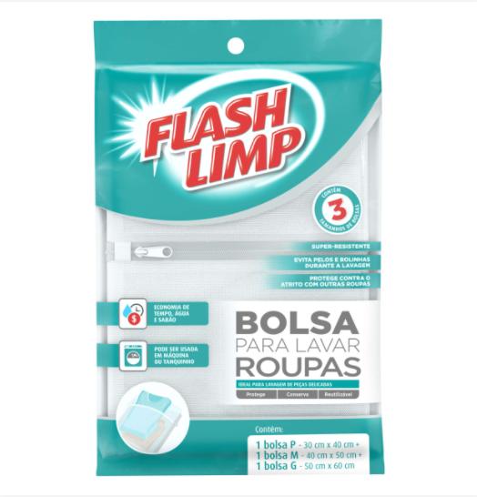 Kit com 3 Unidades Sacos Para Lavar Roupas FlashLimp
