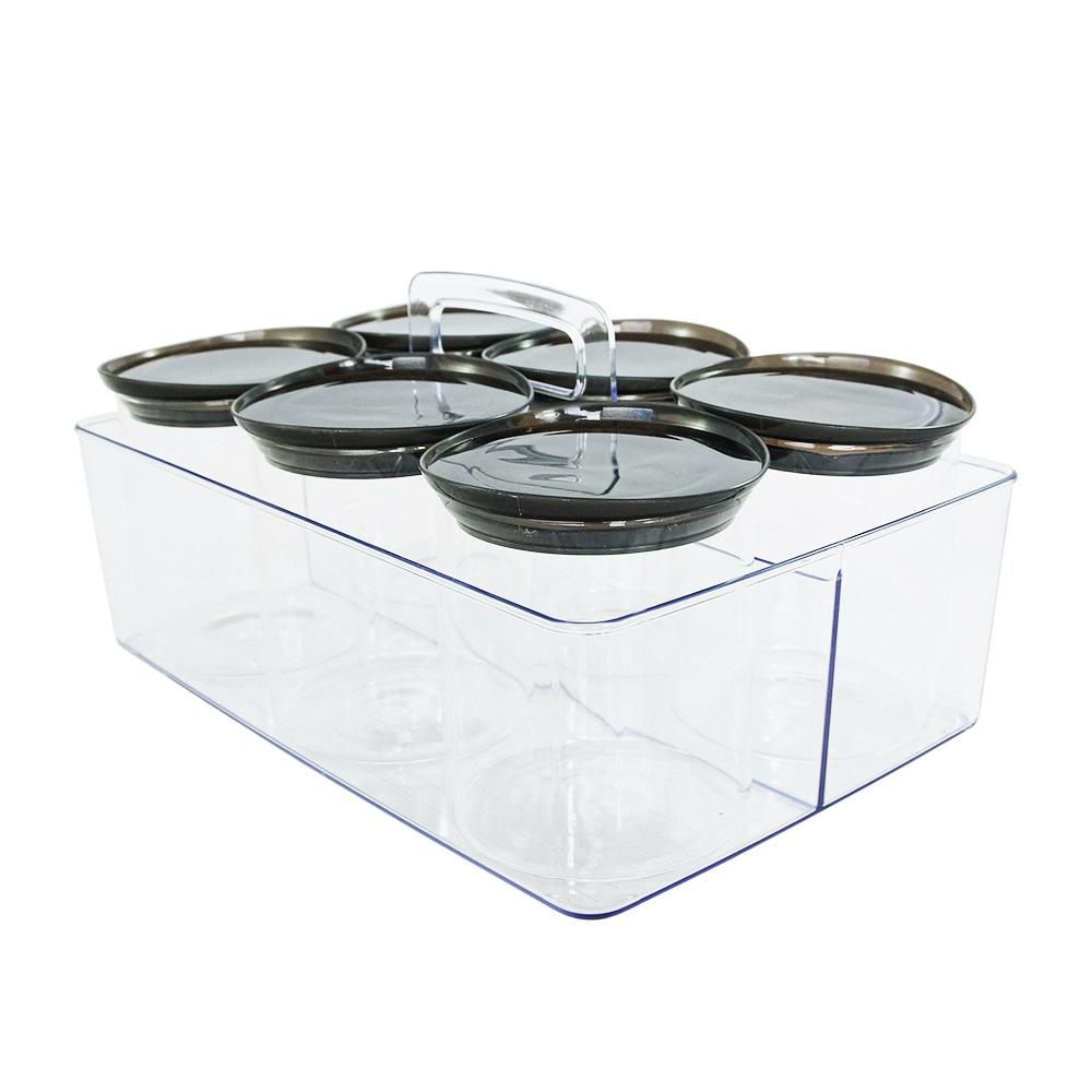 Kit Potes Herméticos de Vidro c/ Suporte com Alça