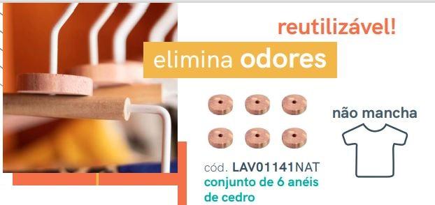 Kit De 6 Anéis Antimofo Aromáticos  De Cedro Natural