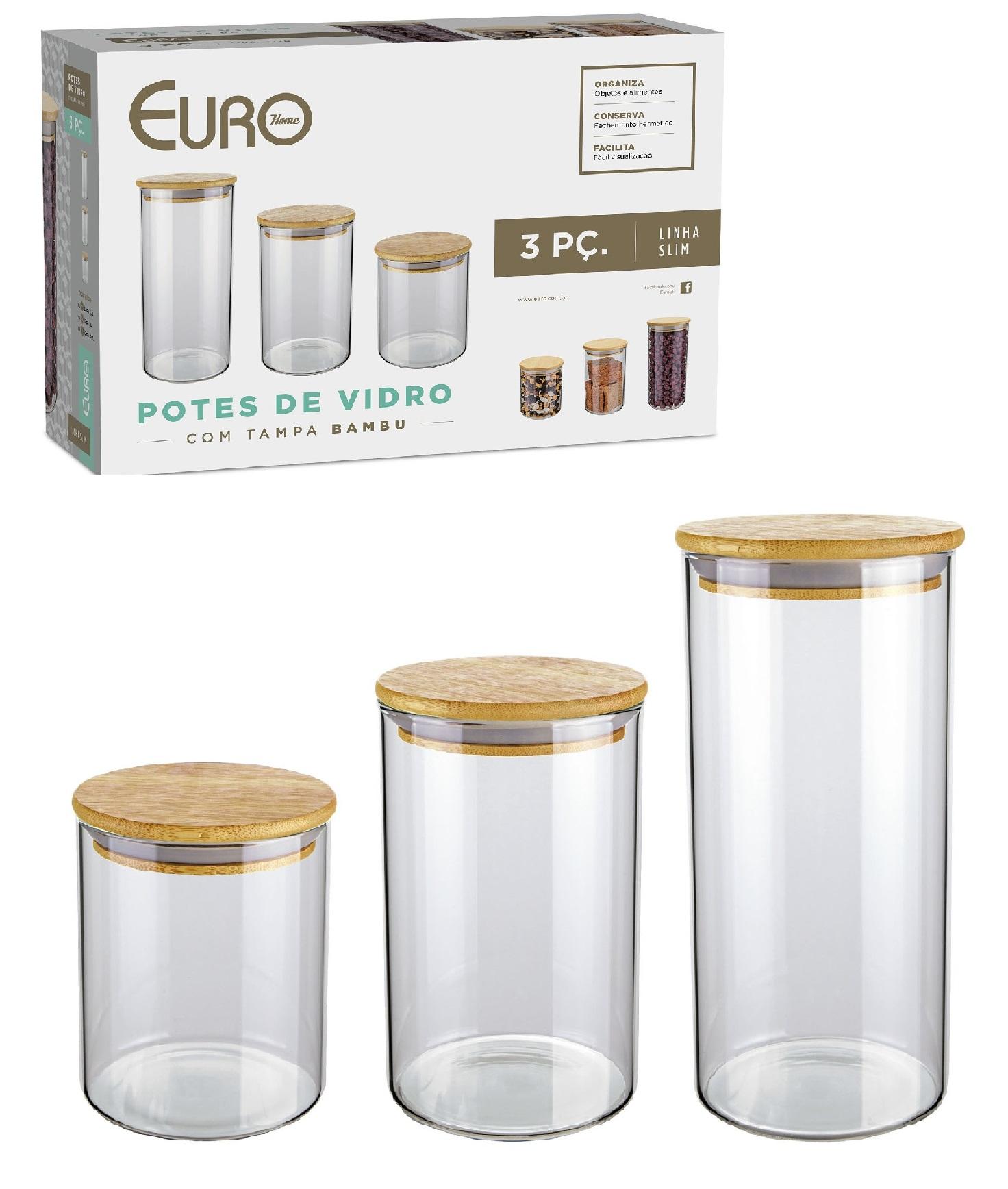 Kit De Potes De Vidro Slim Com Tampa De Bambu 3 Peças